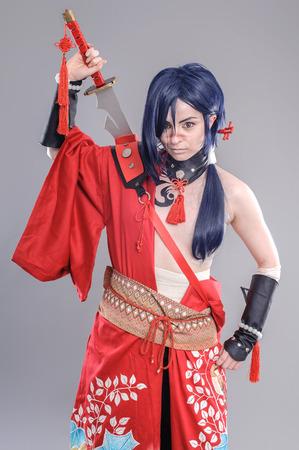 cosplay: Samurai. Models dressed in their favorite heroes Stock Photo