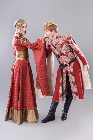 Models dressed in medieval theme.