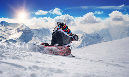 snowboard: Extreme snowboarding man. Winter Scenic in the French Alps Les 2 Alpes