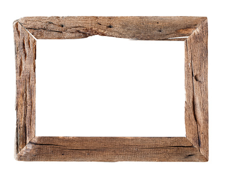 Wooden Frame.  Rustic wood frame isolated on the white background with clipping path Reklamní fotografie - 42101230