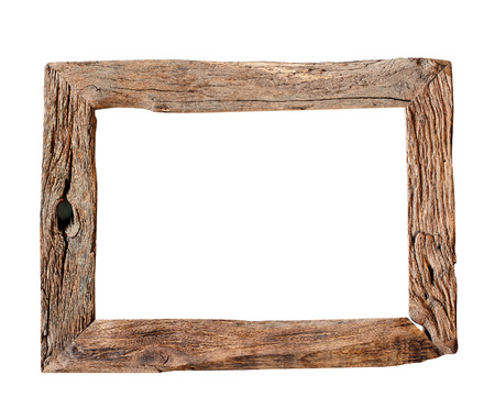 objects with clipping paths: Wooden Frame.  Rustic wood frame isolated on the white background with clipping path