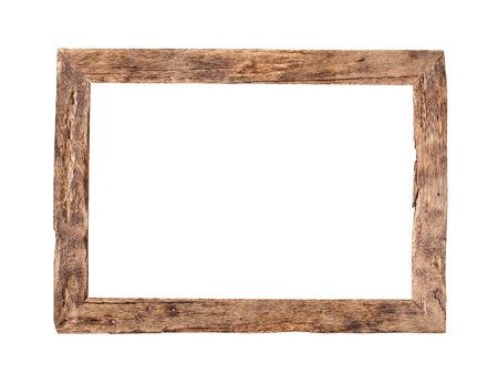 木製フレーム。 クリッピング パスと白い背景に分離された素朴な木製フレーム