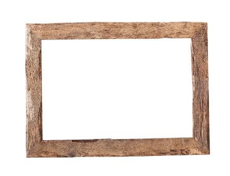 wood: Drewniana rama. Rama z drewna w stylu rustykalnym wyizolowanych na białym tle z wycinek ścieżki Zdjęcie Seryjne