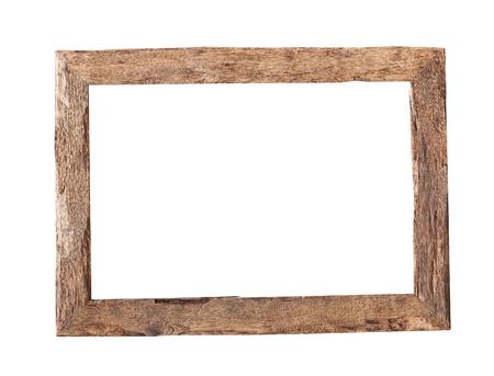 frame design: Wooden Frame.  Rustic wood frame isolated on the white background with clipping path