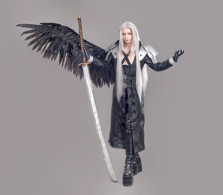 Fantasy woman warrior. Woman warrior with sword and wings isolated on the gray background