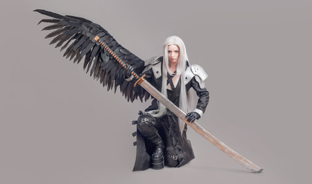 fantasy sword: Fantasy woman warrior. Woman warrior with sword and wings isolated on the gray background