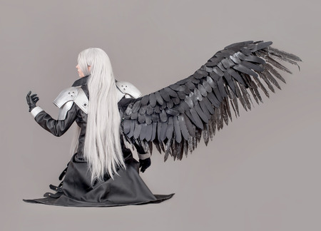 anime: Fantasy woman warrior. Woman warrior with wings and armor isolated on the gray background