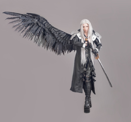 warrior girl: Fantasy woman warrior. Woman warrior with sword and wings isolated on the gray background