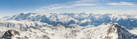 alp: Panoramic view of the mountains. A panoramic view on Alps winter mountains, Les 2 Alpes, France