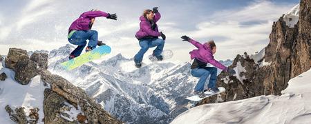 Snowboarding jump. Jump sequence. Les 2 Alpes, France