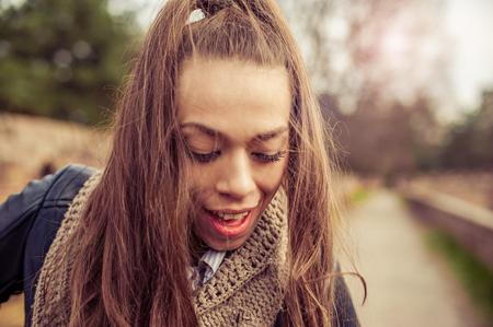 enjoying life: Happy and satisfied young woman enjoying life