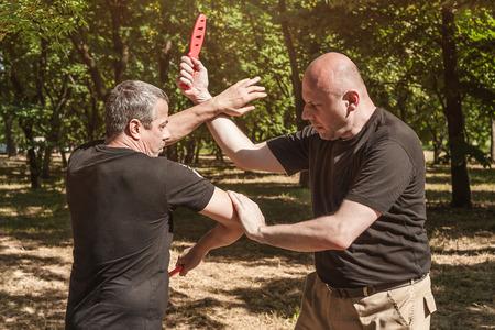 attacker: Kapap instructors demonstrates sombrada training method Stock Photo