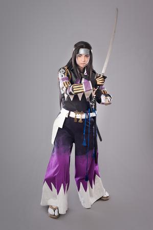 katana sword: Japanese samurai with katana sword. Studio shoot. Isolated Stock Photo