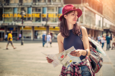 belgrade: Young female tourist with map looking for a way Stock Photo