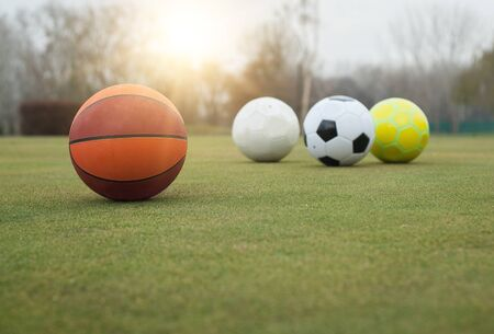 Various sports balls on grass field Stock Photo
