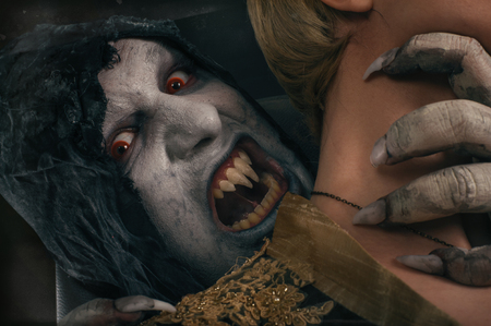 fandom: Scary vampire devil biting young woman. Medieval gothic nightmare horror. Studio shoot
