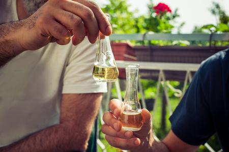 rakia: Cheers! Closeup of hand toasting with glasses of brandy. Outdoor