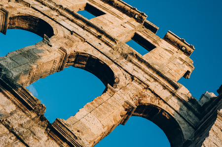 Architecture details of the Roman amphitheatre in Pula, Croatia Banco de Imagens
