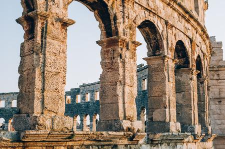 Architecture details of the Roman amphitheatre in Pula, Croatia Stock Photo