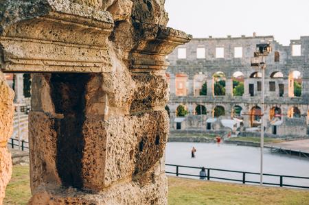 amphitheatre: Architecture details of the Roman amphitheatre in Pula, Croatia Stock Photo