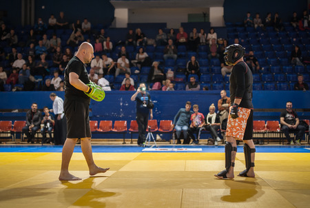 self testing: BELGRADE, SERBIA - 30. SEPTEMBER 2017. Evening of Martial Arts Demonstration and Kyokushin Belgrade Trophy 2017 in Sumice Sport Center Arena in organization of KYOKUSHINKAI FEDERATION OF SERBIA