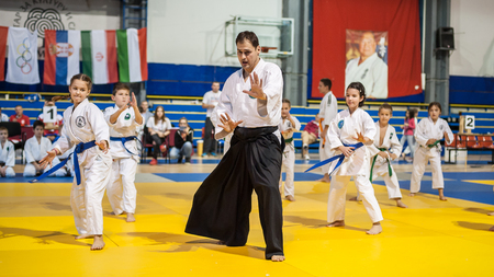 self testing: BELGRADE, SERBIA - 30. SEPTEMBER 2017. Kids and Children Martial Arts Sport Demonstration. Evening of Martial Arts  Kyokushin Belgrade Trophy at Sumice Sport Center. KYOKUSHINKAI FEDERATION OF SERBIA