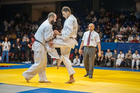self testing: BELGRADE, SERBIA - 30. SEPTEMBER 2017. Kyokushin Karate Tournament Fight. Kyokushin Belgrade Trophy 2017 in Sumice Sport Center Arena in organization of KYOKUSHINKAI FEDERATION OF SERBIA Editorial