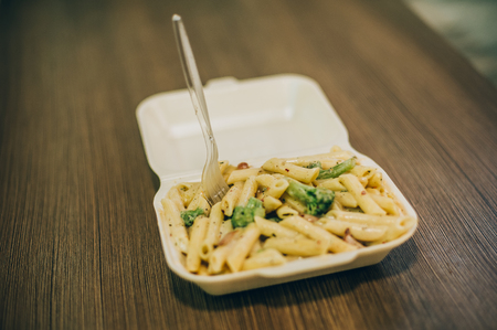 Pasta and spaghetti fresh delivery pack. Fast food dinner and lunch restaurant bar Archivio Fotografico