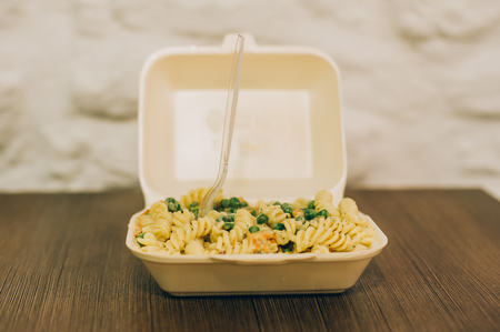 Pasta and spaghetti fresh delivery pack. Fast food dinner and lunch restaurant bar Stock fotó
