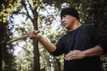 Lameco Astig Combatives instructor demonstrates single stick fighting techniques and training methods. Filipino Martial Arts. Ecrima, Kali, Arnis Stock Photo