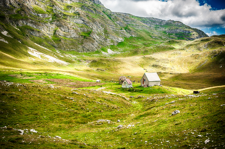 Traditional wooden shepherd cottage in the mountains with beautiful green pasture with dramatic blue sky, scenic wildlife landscape