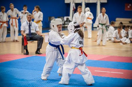 BELGRADE, SERBIA - 30. SEPTEMBER 2017. Little kids and children in sport kimono on Kyokushin Karate Belgrade Trophy Tournament competition at Sumice Sport Center. KYOKUSHINKAI FEDERATION OF SERBIA