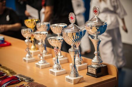 Gold champion winner awards trophies and medals lined up in rows. Selective focus