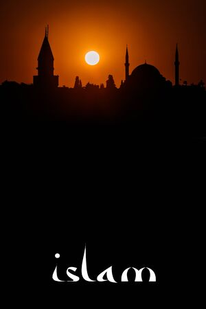 Silhouette of ancient Islam mosque at sunset and twilight with huge big Sun. Abstract view of book cover page. Spirit, religion and faith concept. Turkey, Istanbul