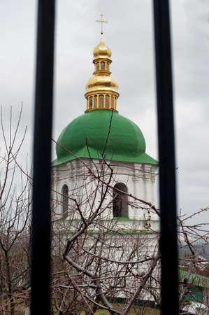 Close up detail view of ukrainian Orthodox church cupolas. Pechersk Lavra Monastery Kiev, Ukraine. Cave monastery