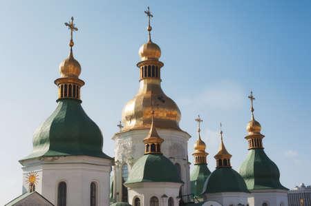 Close up detail view of ukrainian Orthodox church cupolas. Saint Sophia Cathedral in Kiev, Ukraine Banco de Imagens