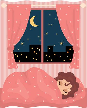 bedroom interior: Pretty girl sleeps. vector, no gradient, colour full