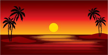 Tropical islands with palm trees. Sunset. vector, gradient, color full, no mesh Vector