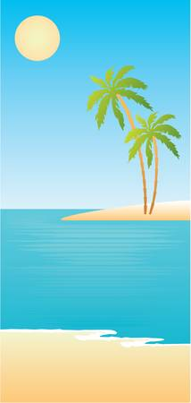 Stock Vector Illustration: Tropical beach with palm trees. vector, gradient, color full, no mesh Illustration