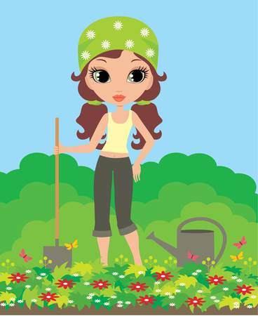 woman gardening: Girl the gardener. vector, no gradient, color full