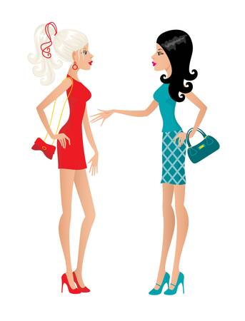 Two fashionable females. vector, gradient, color full