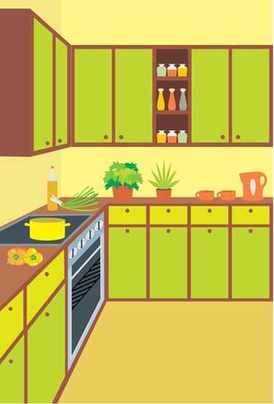 Kitchen furniture. Interior. vector, no gradient, color full Vector