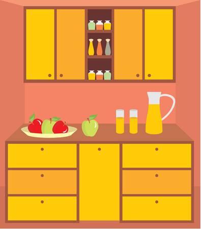 Kitchen furniture. Interior. vector, no gradient, color full