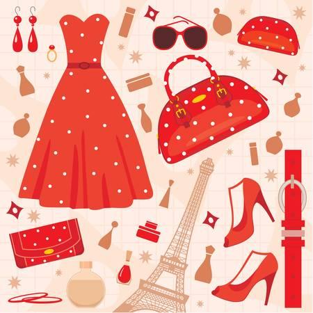designer bag: Paris fashion set.  color full, no gradient Illustration