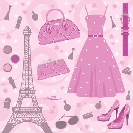 Paris fashion set. no gradient Vector