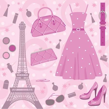 Paris fashion set. no gradient Stock Vector - 10831721