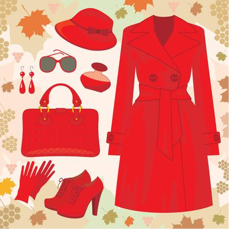 the trench: Autumn fashion set. no gradient Illustration