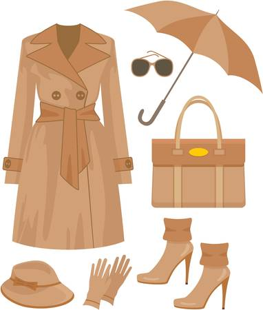 autumn fashion: Autumn fashion set. no gradient Illustration