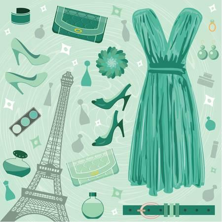 Paris Fashion beállítva. színes teljes, nincs gradiens Illusztráció