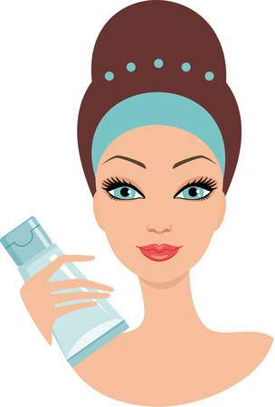 pamper: Beautiful young woman with a face cream. Illustration